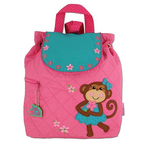 Stephen Joseph Quilted Girl Monkey Backpack - Kids Backpacks