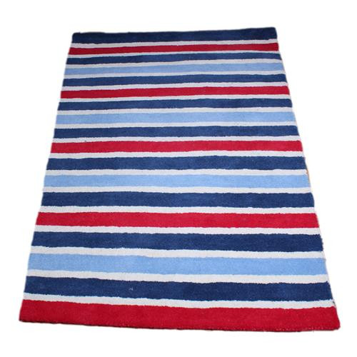 100% wool red and white striped rug - childrens rugs