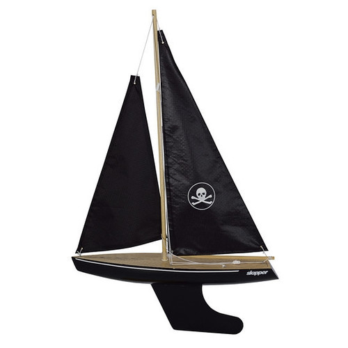 Skipper pond yacht with pirate sail and black hull and keel