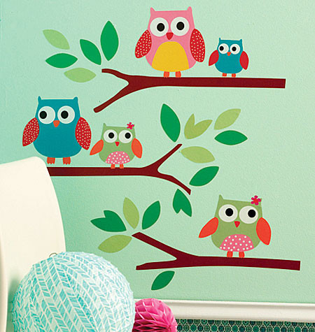 Wallies Owl Wall Stickers on Wall