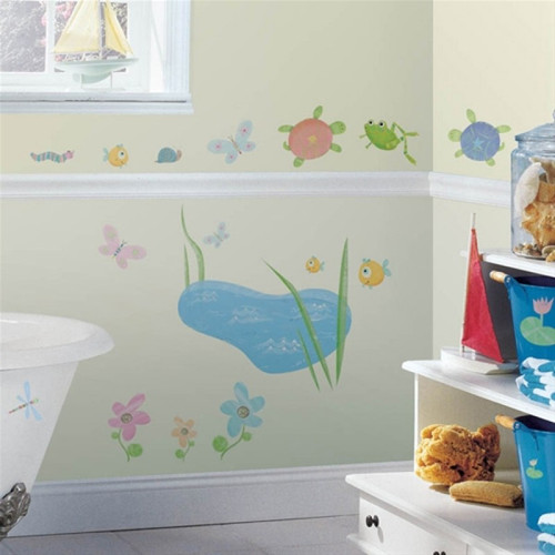 Hoppy Pond wall stickers on bathroom wall