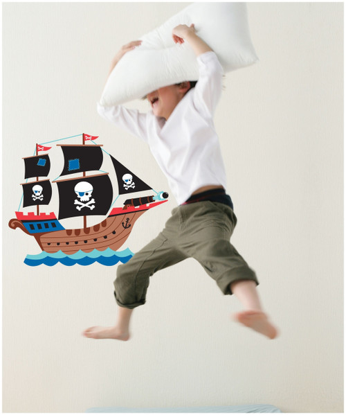 Speckled House Pirate Ship Wall Stickers on wall