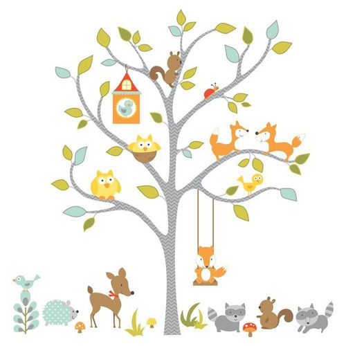 Woodland Fox And Friends Giant Tree Wall Stickers