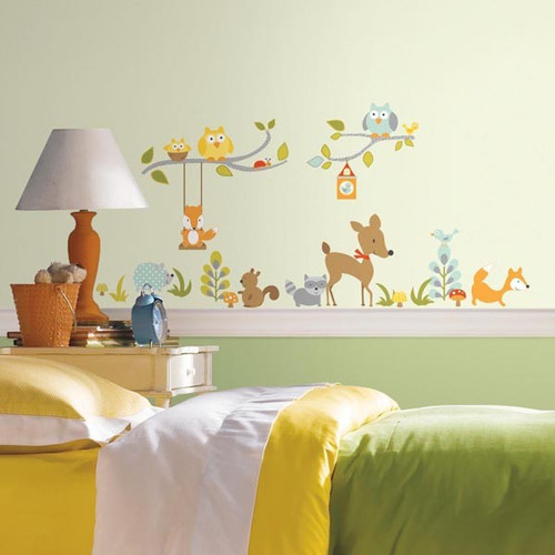 Woodland Fox and Friends wall stickers on wall