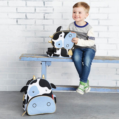 Boy with Skip Hop Cow Zoo Backpack and Lunchie