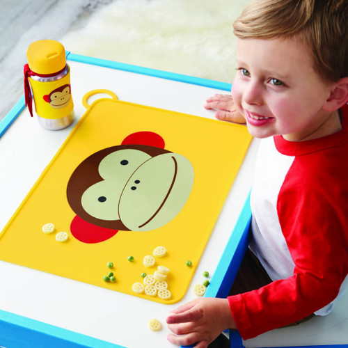 Child with Skip Hop Zoo Monkey Placemat