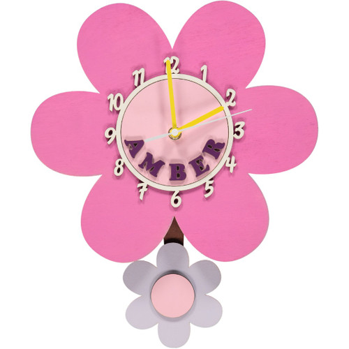 Pink Daisy Wooden Clock - Personalised