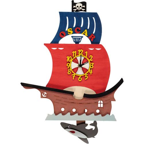 Pirate Ship Pendulum Clock - Personalised