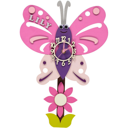 Personalised Butterfly Wooden Clock