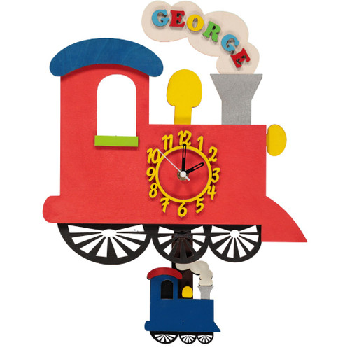 Personalised Red Train Wooden Pendulum Clock