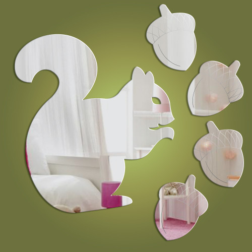 Squirrel mirror + pack of 4 acorn mirrors - exclusive to Dotty Hippo