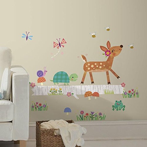 Roommates Baby Deer on Log Wall Stickers