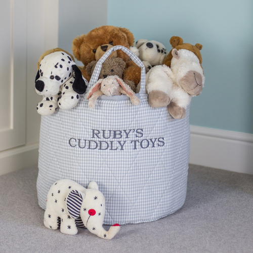 Grey Gingham Round Storage Bag