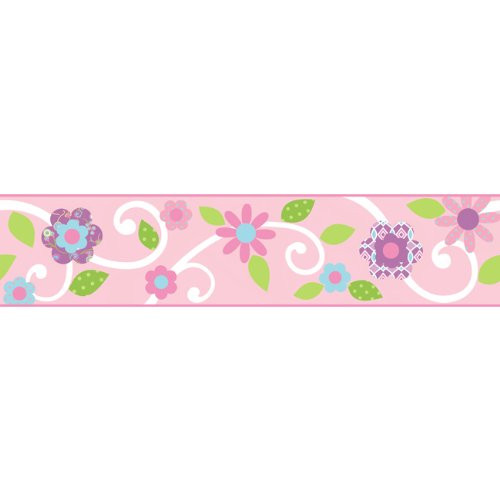 Scroll Tree Border Pink and White Wall Stickers