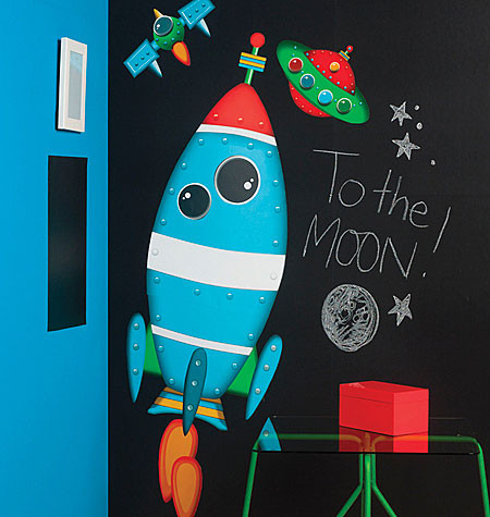 Rocket Ship, Space Ship and Satellite Wall Sticker Set - Wallies