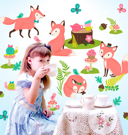 Woodland Tea Party wall stickers - Wallies