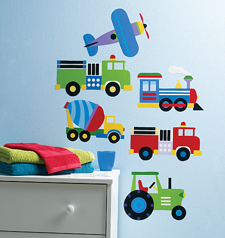 Trains, Planes and Trucks Wall Stickers - Wallies