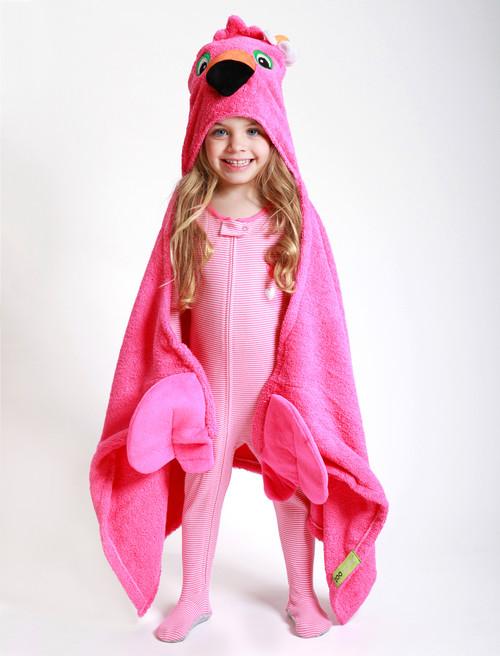 Zoocchini Hooded Towel - Franny the Flamingo