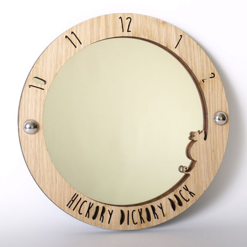 Hickory Dickory Dock - wood framed acrylic mirror