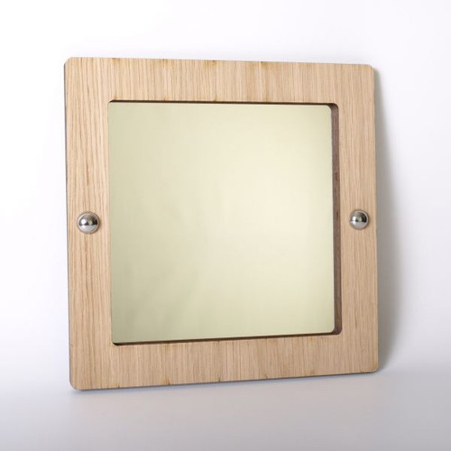 Square wood framed acrylic mirror
