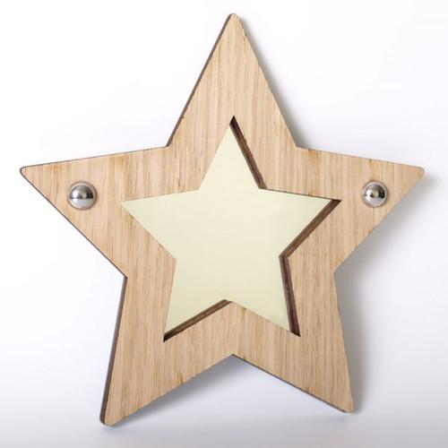 Star wood framed acrylic mirror