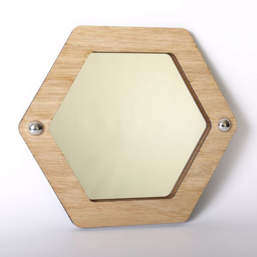 Hexagon wood framed acrylic mirror