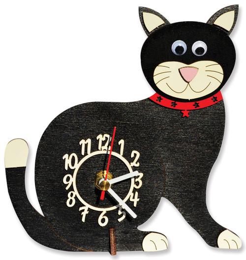Black Cat Mini Wooden Clock