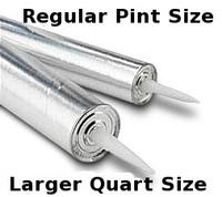 Empty caulking tubes, resin, epoxy, paste, glue, caulk. Quart & Pint size aluminum fiberboard plastic w/plunger fits standard caulk guns. Works as good as plastic tubes. Sold single & as 2 pack & cases.