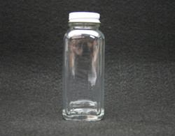 2 oz With Lid French Square Glass Bottle