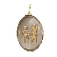 Vintage Gemini Reverse Intaglio 14k Gold  Zodiac Charm