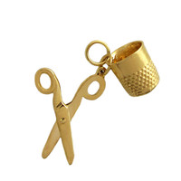 Scissors & Thimble 14k Gold Charm