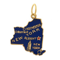 Vintage Enameled New York State Map 14k Gold Charm
