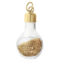 Vintage Glass Bottle with Gold Shavings 14K Gold Charm