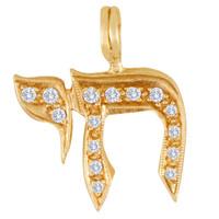 Vintage Diamond Chai 14k Gold Charm