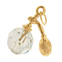 Crystal Perfume Bottle 14k Gold Charm