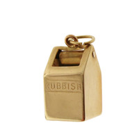 Vintage Rubbish Bin 10k Gold Charm