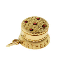 Vintage Movable Birthday Cake 14k Gold Charm