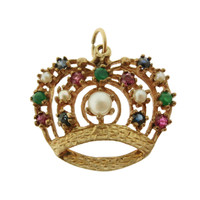 Vintage Crown with Gems and Pearls 14k Gold Charm