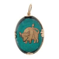 Vintage Taurus Reverse Intaglio 14k Gold Zodiac Charm