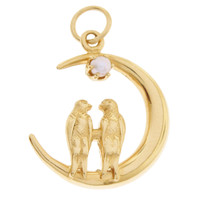 Pearl Lovebirds On The Moon 14k Gold Charm