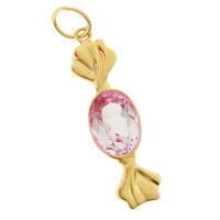 Candy with Pink Topaz 14k Gold Charm