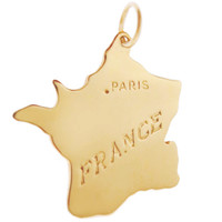 Map of France 14k Gold Charm