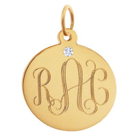 Classic Disc with Diamond 14K Gold Charm