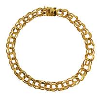 Vintage Classic Double 14k Gold Charm Bracelet