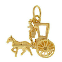 New York Horse Drawn Carriage 14k Gold Charm