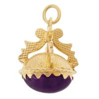 Cabochon Amethyst Fob 14k Gold Charm