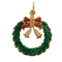 Vintage Enameled Wreath 14K Gold Charm