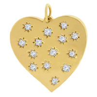 Quadrille Diamond 14k Gold Heart Charm