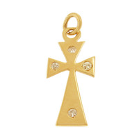 Vintage Diamond Gothic Cross 14k Gold Charm