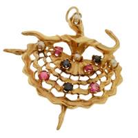 Vintage Gem Studded Dancer 14k Gold Charm